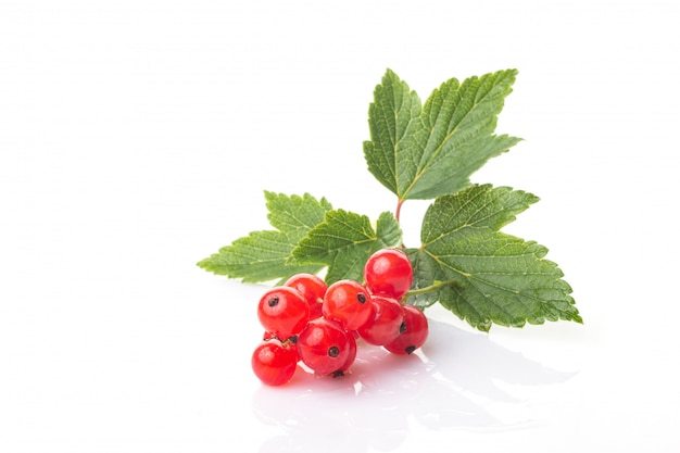 Fresh berries of red currant with green leaves isolated