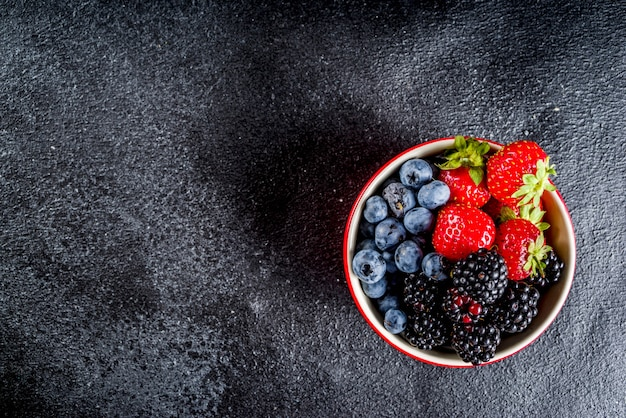 Fresh berries in a small bowl