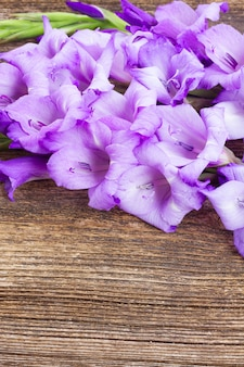 Fresh blue gladiolus flowers on wooden table  background