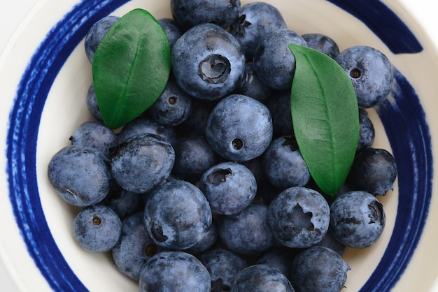 Fresh blueberries in a bowl close up