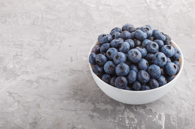 Fresh blueberry in white bowl on gray concrete background. side view.