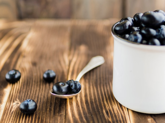 Fresh blueberry on wooden surface