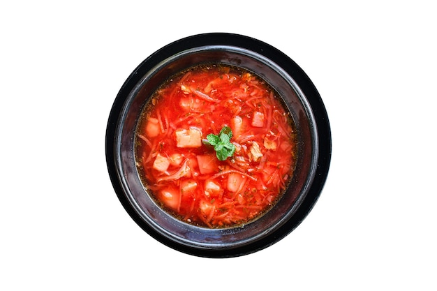 Борщ из свежих красных томатов с мясным юлионом и овощами