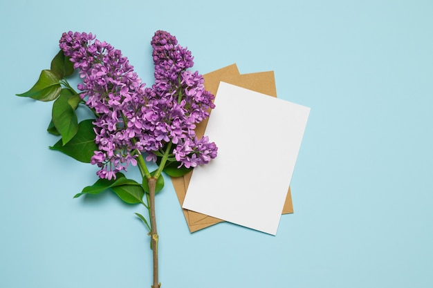 Fresh branch pink lilac background greeting card mockup
