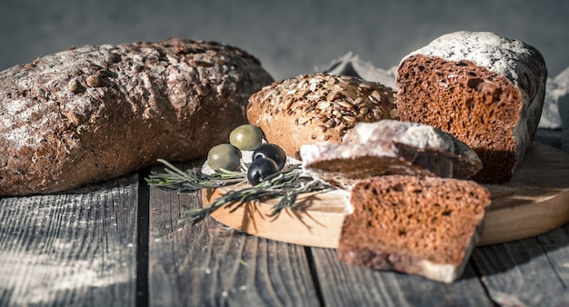 Fresh bread on a beautiful wooden table