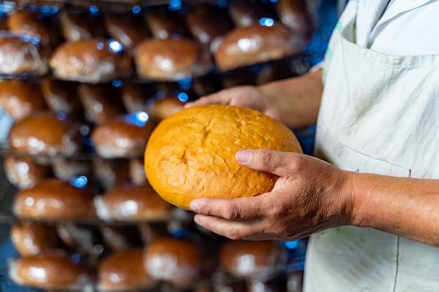パン屋の手に焼きたてのパン。工業用パンの生産。閉じる。