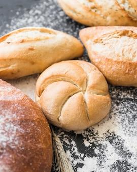 Fresh bread loafs on table
