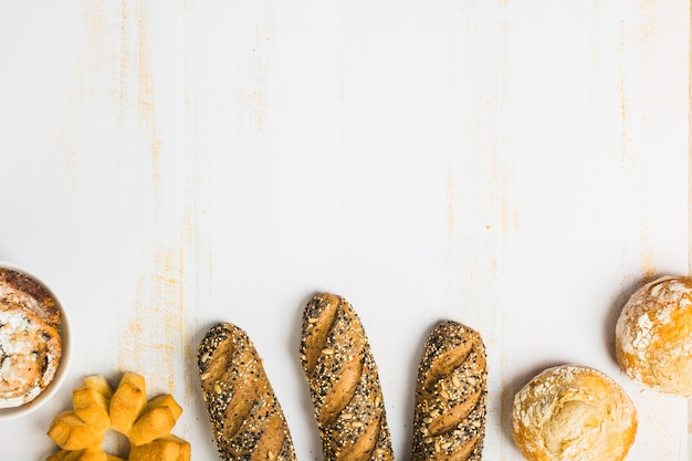 Fresh bread near buns