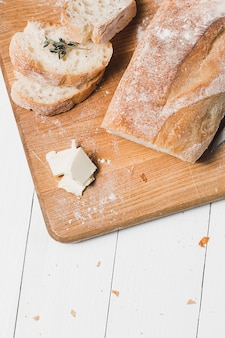 The fresh bread on a white table