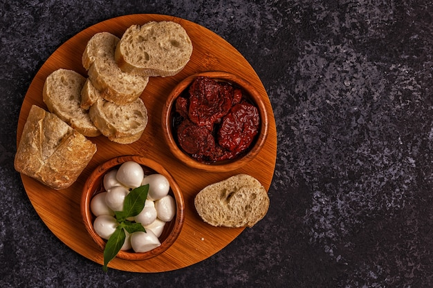 Fresh bread with snacks