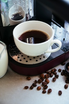 Fresh brewed coffee and beans