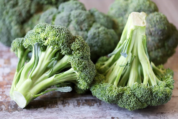 Fresh broccoli heads.