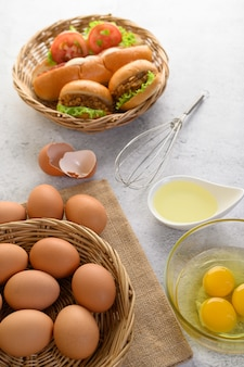 Fresh brown eggs and bakery product