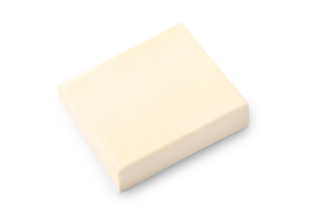 신선한 버터 블록 흰색 절연