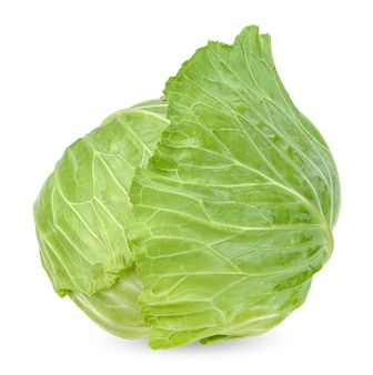 Fresh cabbage isolated on white clipping path