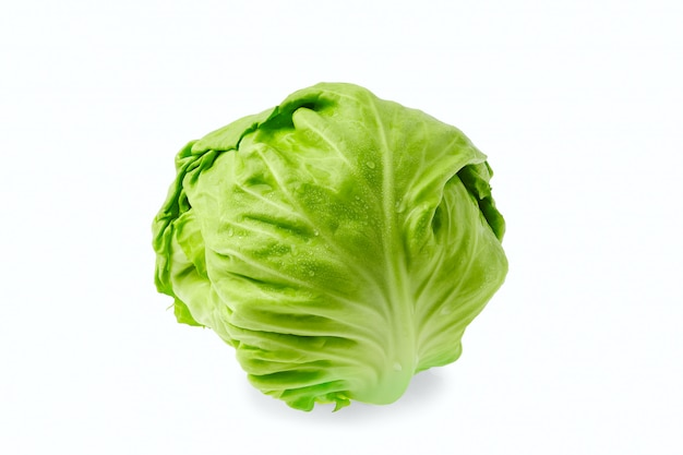 Fresh cabbage isolated on white wall