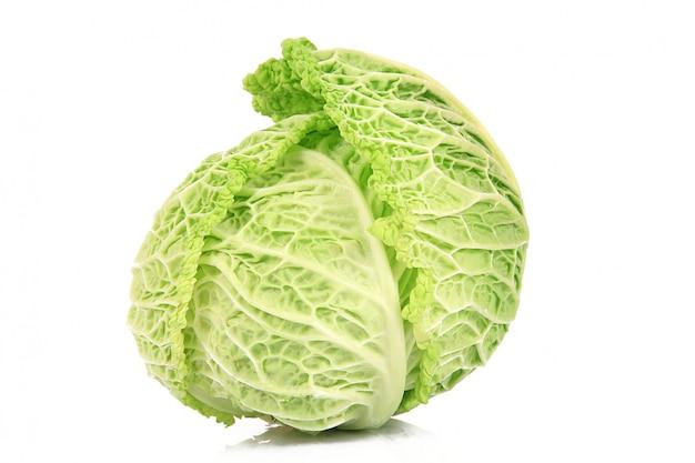 Fresh cabbage on white