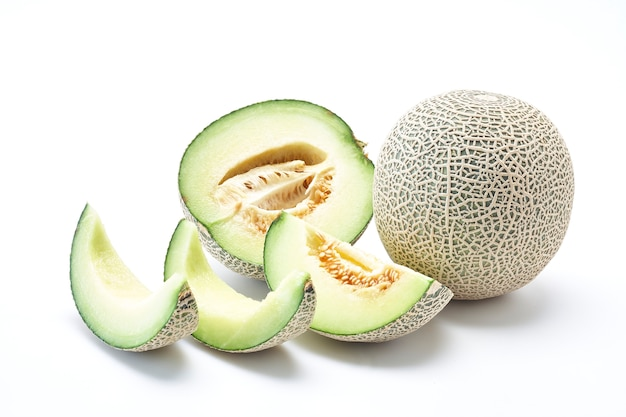 Fresh cantaloupe melon on the white background. creative layout made of melon. food concep