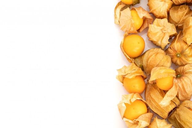 白い背景の上の新鮮なケープグーズベリーフルーツ