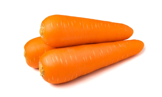 Fresh carrots isolated on white background. close up of carrots.