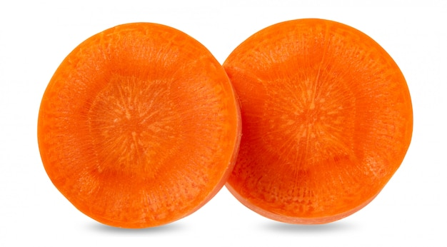Fresh carrots isolated on white space. close up of carrots with clipping path.