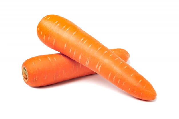 Fresh carrots isolated on white wall. close up of carrots.