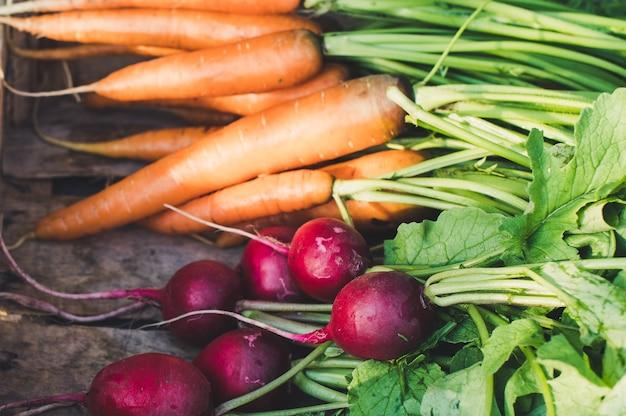 Свежая морковь на темном деревенском фоне. концепция местного фермерского рынка