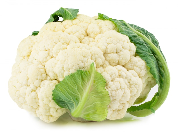 Fresh cauliflower isolated on white with clipping path.