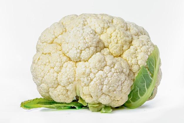 Fresh cauliflower vegetable isolated on white background.