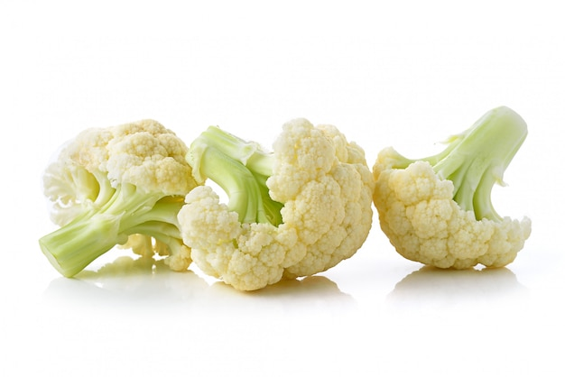 Fresh cauliflower on white space