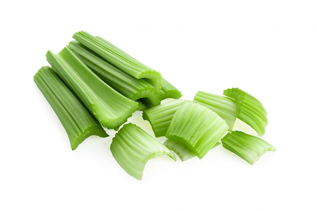 Fresh celery isolated over a white background.