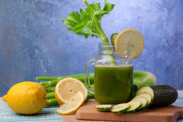 Fresh celery juice with cucumber and lemon