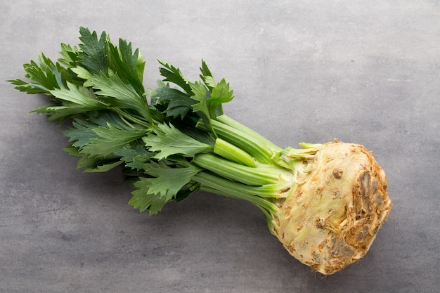Fresh celery root with leaf isolated.