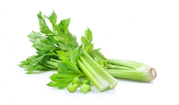 Fresh celery on white wall