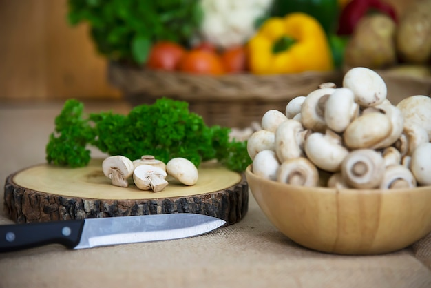 Fresh champignon mushroom vegetable in the kitchen