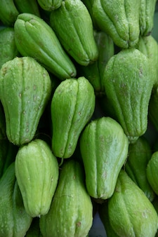 Fresh chayote or sechium edule on market for sale. fresh chayote background.