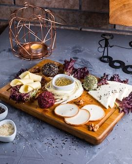 Fresh cheese plate on the table