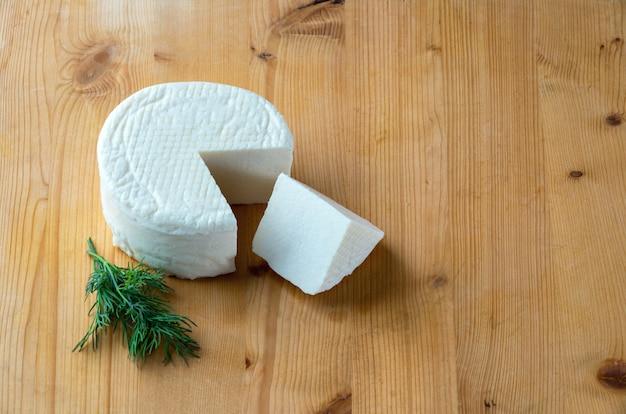 Fresh cheese wheel