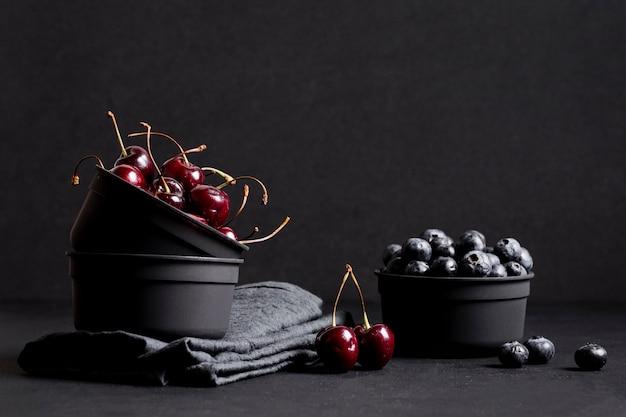 Fresh cherries and blueberries