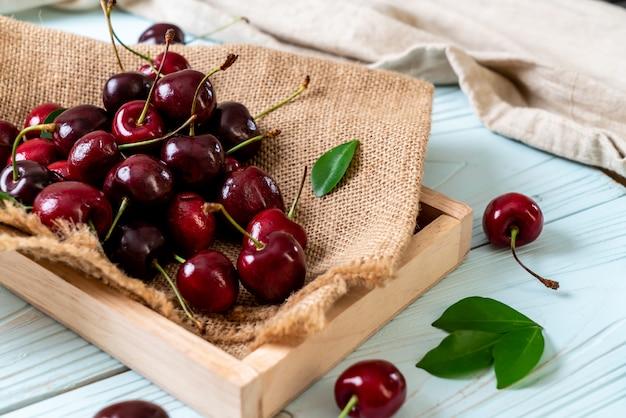 Fresh cherries in bowl