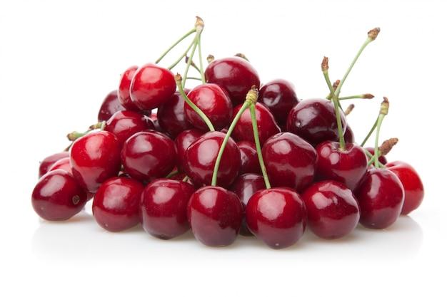 Fresh cherries isolated fruit on white