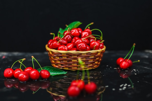 Fresh cherries placed in a basket