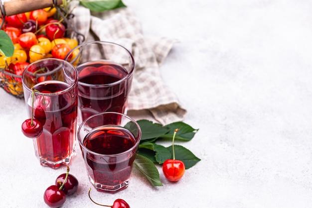 Свежий вишневый сок летний напиток