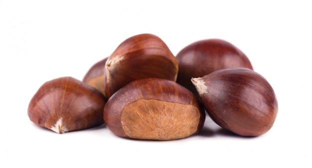 Fresh chestnuts isolated on white space. hippocastanum isolated. chestnut with clipping path