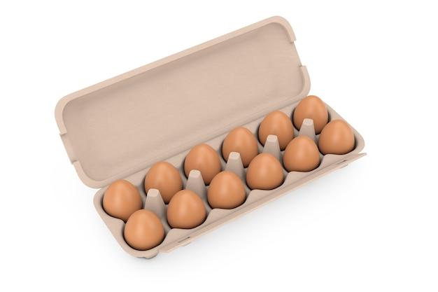 Свежие куриные бежевые яйца в картонном контейнере на белом фоне. 3d рендеринг