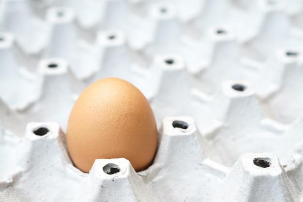 Свежее куриное яйцо на упаковке