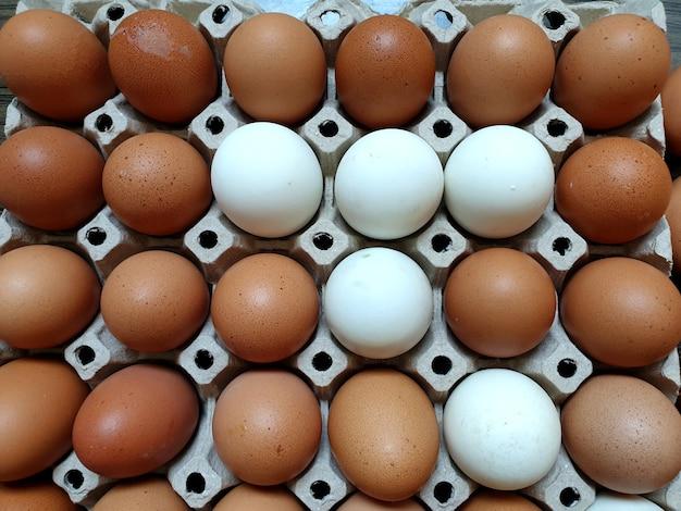 나무 배경에 포장된 신선한 닭고기 달걀과 오리 달걀