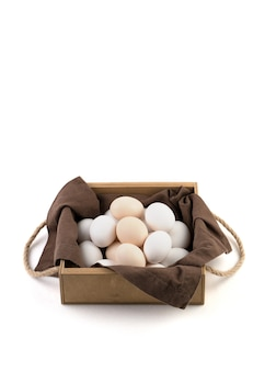 Fresh chicken eggs are placed in a beautiful package.
