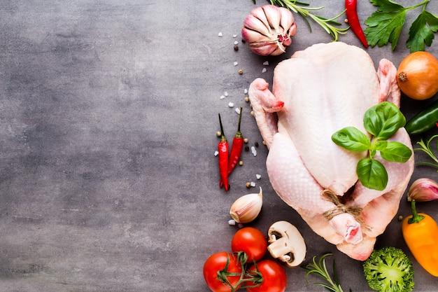 新鮮な鶏肉と野菜