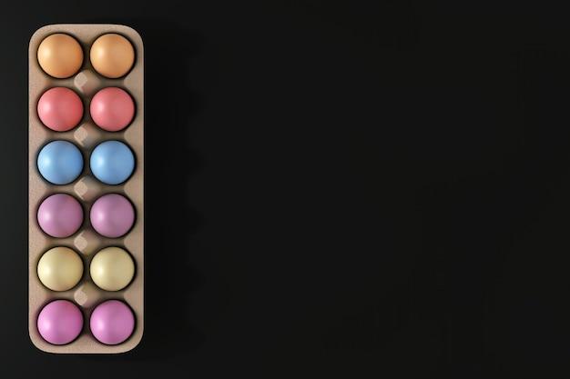 Свежие куриные разноцветные яйца в картонной коробке на черном фоне. 3d рендеринг